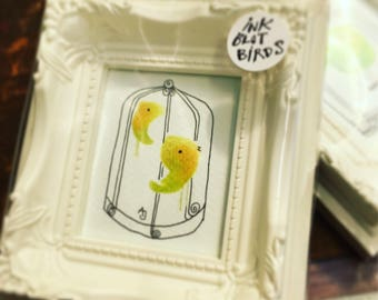 Little Original Framed Drawing, of birds in cage, by Andrea Joseph