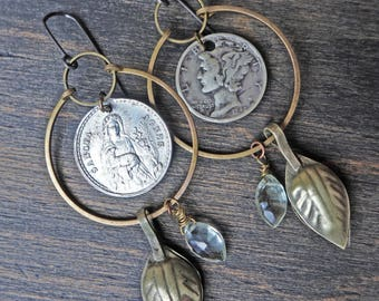 "Recycled art earrings with coin and medal- ""Apocrypha"""