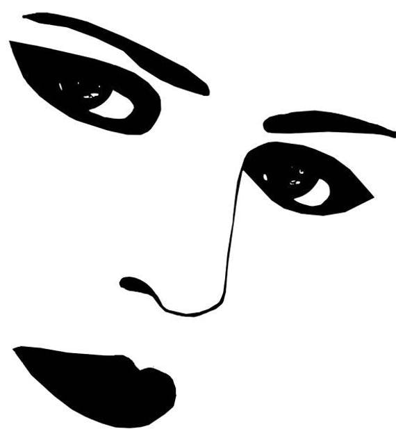 """womans black eyes lips png clipart jpg Digital stamp Image Download facial features art graphics printable10"""" x 11"""""""
