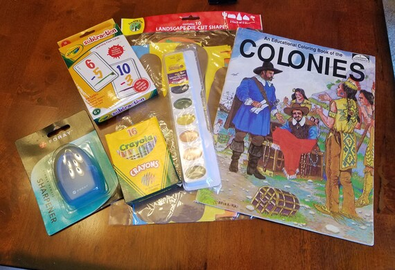 6 kids art craft supply lot crayons watercolor paints flash cards die cuts coloring book new