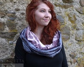 Snuggley Silky Velvet Snood Cowl Hood Scarf Reversible Pewter Grey and Ice Pink