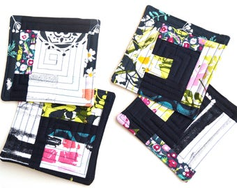 Modern Patchwork Quilted Patchwork Coasters Set of Four in Pink, Green and Indigo Blue Abstract Patchwork