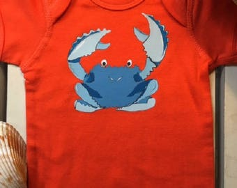 Blue Crab Bodysuit, Beach Bodysuit, Baby boys bodysuit, Baby girls bodysuit, Summer outfit