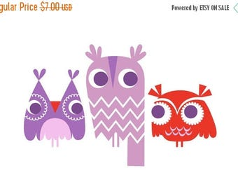 "SUMMER SALE 4X6"" three owls giclee art print on fine art paper. lavender purple and red."