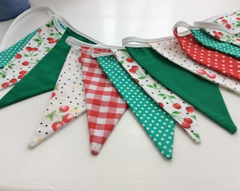 Cherrry and strawberry Bunting - red and green alternative to standard christmas bunting 8ft with ties
