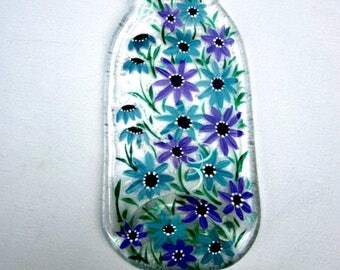 Spoon Rest, Kitchen Trivet,  Melted Clear Glass Bottle,  Hand Painted  Light Turquoise  and Light Purple Flowers,  Candle Holder, Glass Art