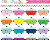 80% OFF SALE Kawaii Cooking Pots Clipart Personal & Commercial Use Kitchen or Dinner Clip Art Graphics