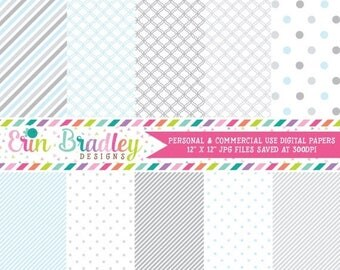 50% OFF SALE Digital Paper Pack Scrapbook Papers Personal and Commercial Use Baby Blue and Gray Medley