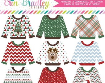 80% OFF SALE Ugly Sweater Clipart, Holiday Clip Art, Christmas Party Clipart, Ugly Sweater Party Clip Art Graphics Commercial Use OK