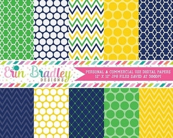 80% OFF SALE Yellow Blue and Green Digital Paper Set Commercial Use Instant Download