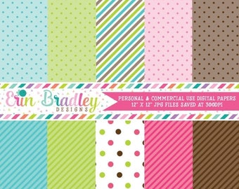80% OFF SALE Digital Scrapbook Papers Personal and Commercial Use Pink Green Blue Brown Stripes and Polka Dots