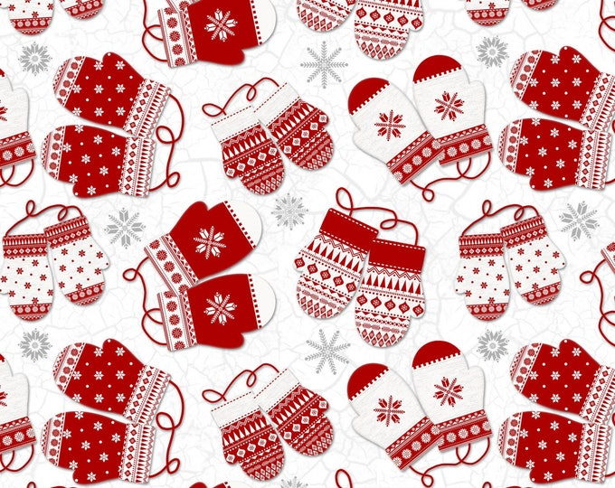 Christmas Holiday Flannel Fabric, Frosty Folks White Multi Mittens by Jan Shade Beach Collection for Henry Glass