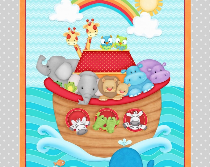 NOAH'S ARK PANEL, Side by Side Children's Cotton Fabric Line by Shelly Comiskey