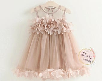 Dusty pink little girl dress, baby dress, Sunday dress, wedding dress, flower girl, summer dress, rose dress, baby dress, rose dress