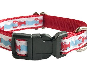 """1/2"""" Lobster Nautical Small Dog Puppy Collar, Leash or Harness"""