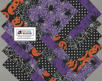 "40~4"" inch Fabric Squares/Quilt/Craft/Sewing/Charm Packs HALLOWEEN Spiders_Pumpkins #0865"