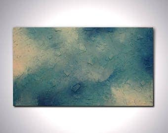Original large abstract painting heavily textured wall art deco blue by Elsisy 45x25 Sale