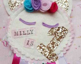 Personalised Unicorn Party Birthday Girls Rosette Badge Age Ribbon Rosette made to order