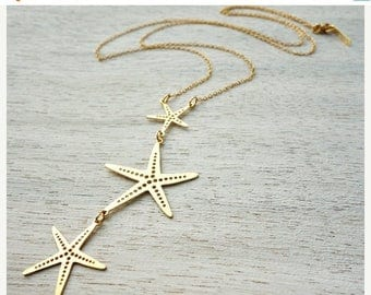 On Sale 40% off, Long Starfish Necklace, pendant jewelry, underwater jewelry