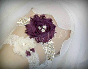 Luxury Garter Set/Eggplant Purple, Wedding Garter Set, Ivory Stretch Lace Garter, Rhinestone garter, Purple Flower Garter Set