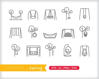 Minimal swing line icons | EPS AI PNG | Geometric Playground Clipart Design Elements Digital Download