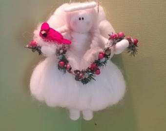 "Whimsical Felted Wool 5 "" Garland Angel"