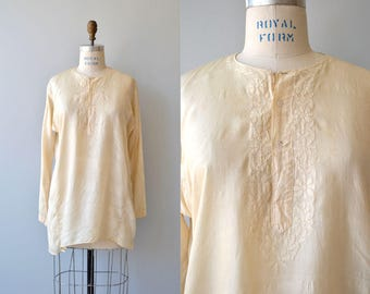Indian silk tunic | vintage 1970s silk embroidered blouse | cream silk 70s indian tunic