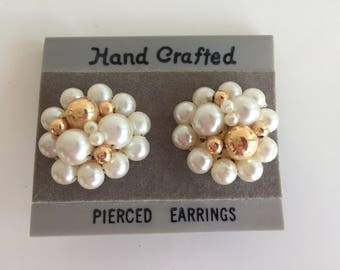 Vintage Faux Pearl and Gold Earrings. Never Worn.