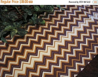 SALE Table Runner Chevron Stripes Brown Padded
