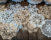"12psc(dozen)  Hand Crochet Doily 7"" RD White & Natural for Cottage/Victorian/Shabby/Boho/French Style,Tea Party, Vintage Wedding"