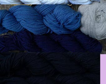 1120 yards of pure wool yarn in sport weight, 5 colors, 12 oz.