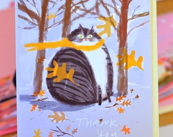 Thank You Card - Fall Cat - Cat Thank You Card