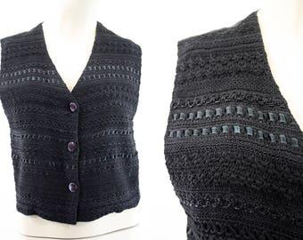 90's Vest / Tanzara International / Woman's / Black / Ribbon / Crochet / Retro