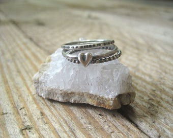 Sterling Silver Heart Ring Stack, Fine Silver Heart, Hammered Sterling Ring, Set of Three