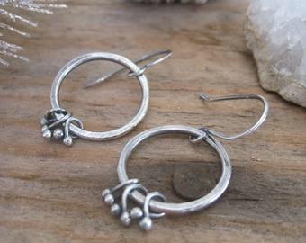 Bramble Hoop Dangle Earrings, Fine Silver Link Earrings, Silver Hoop Earrings
