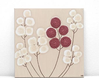 ON SALE Acrylic Canvas Painting with Textured Flowers in Khaki and Red - Small 10x10