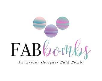 Bath Bomb Logo Watercolor Logo Bath and Body Soap Logo Custom Logo Branding Package Gold Glitter Logo Design Brand Package Logo Brand