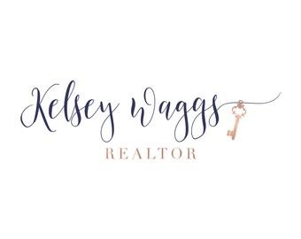 Rose Gold Logo Real Estate Logo Design Realtor Logo Key Logo Watermark Realtor Marketing  Real Estate Agent Branding Package Broker Logo