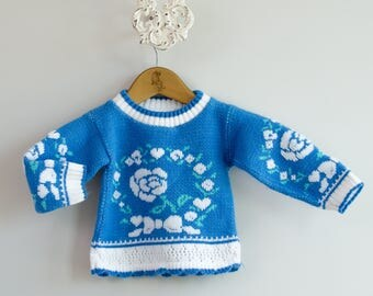 Baby's 1980s Blue Floral Knit Sweater • Size 18mo