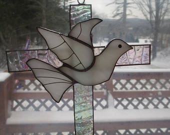 Stained Glass Dove Cross