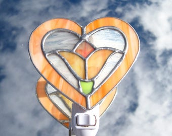 Valentine Victorian Heart Stained Glass Night Light Orange Tulip Glass Night Light Orange Heart Night Light Orange Valentine Night Light