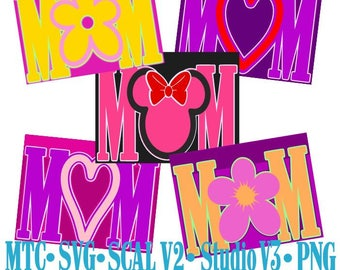 Card Word MOM Bundle of 5 Cut Files MTC SvG SCAL Format and more traceable