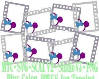 Filmstrip Frames Boy & Girl Mouse Head Design #06 Amusement Park Embellishments Cut Files MTC SVG SCAL and more File Format
