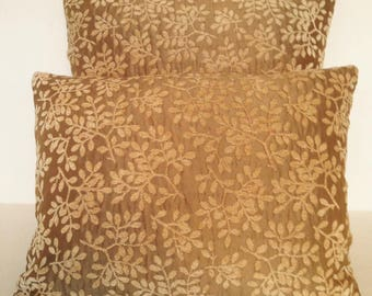 Lumbar & Square Throw Pillow Cover Chenille Velvet Raw Silk Tan Brown Gold French Country English Cottage Leaves Garden Botanica