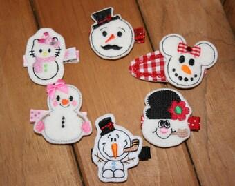 Choose Your Favorite Snowman Hair Clip, Christmas Snowman Hair Clip