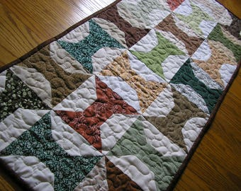 Quilted Table Runner, Brown, Green and Gold Spool Blocks, 17  x 38 1/2  inches