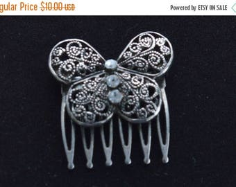 ON SALE Pretty Vintage Silver tone Filigree Butterfly Hair Comb