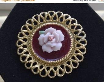 ON SALE Pretty Vintage Pink Porcelain Rose, Burgundy Enamel Brooch, Gold tone