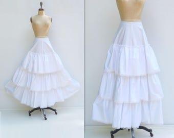 Vintage Crinoline Maxi White Crinoline White Petticoat Cotton Crinoline Bridal Crinoline Wedding Petticoat 50s Cotton Petticoat xs
