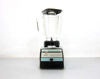 Sears Deluxe Blender Vintage Silver Chrome and Blue with glass pitcher 8 speed Mixer Retro Kitchen Appliance Home Decor GS